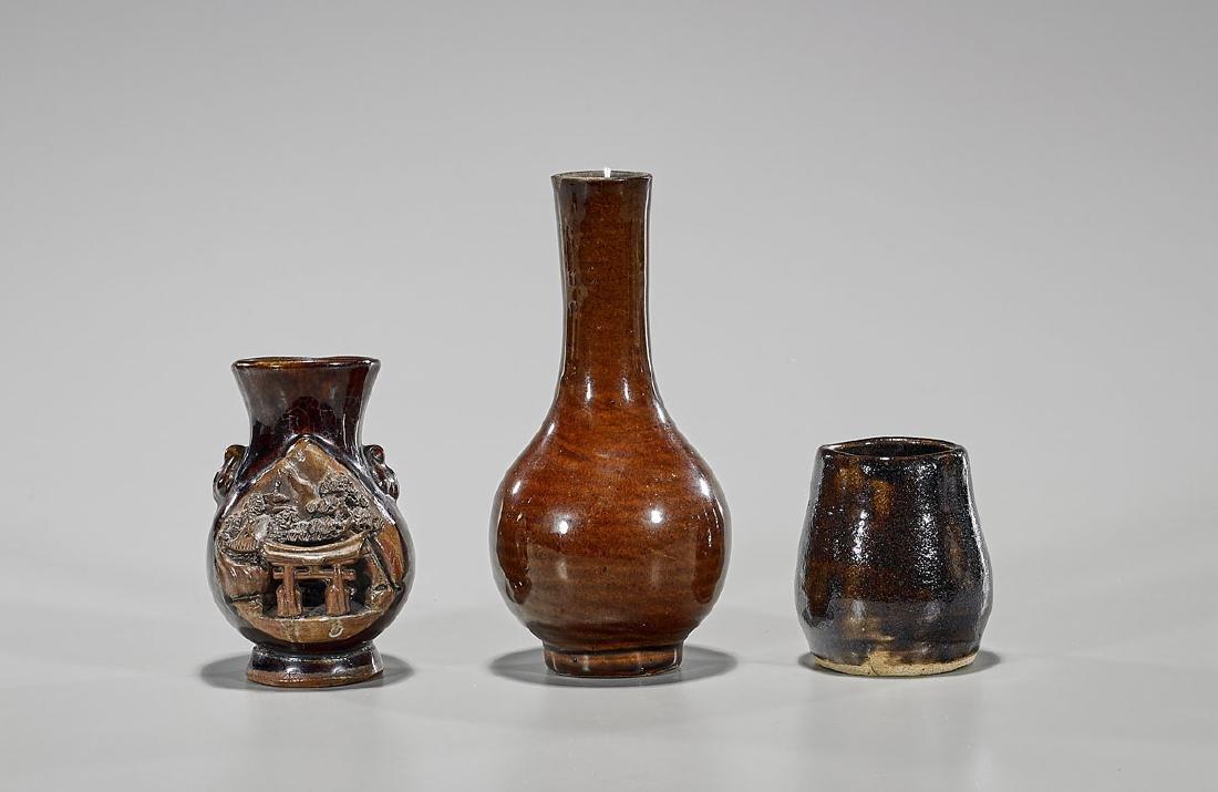 Three Old Antique Chinese & Japanese Glazed Pottery