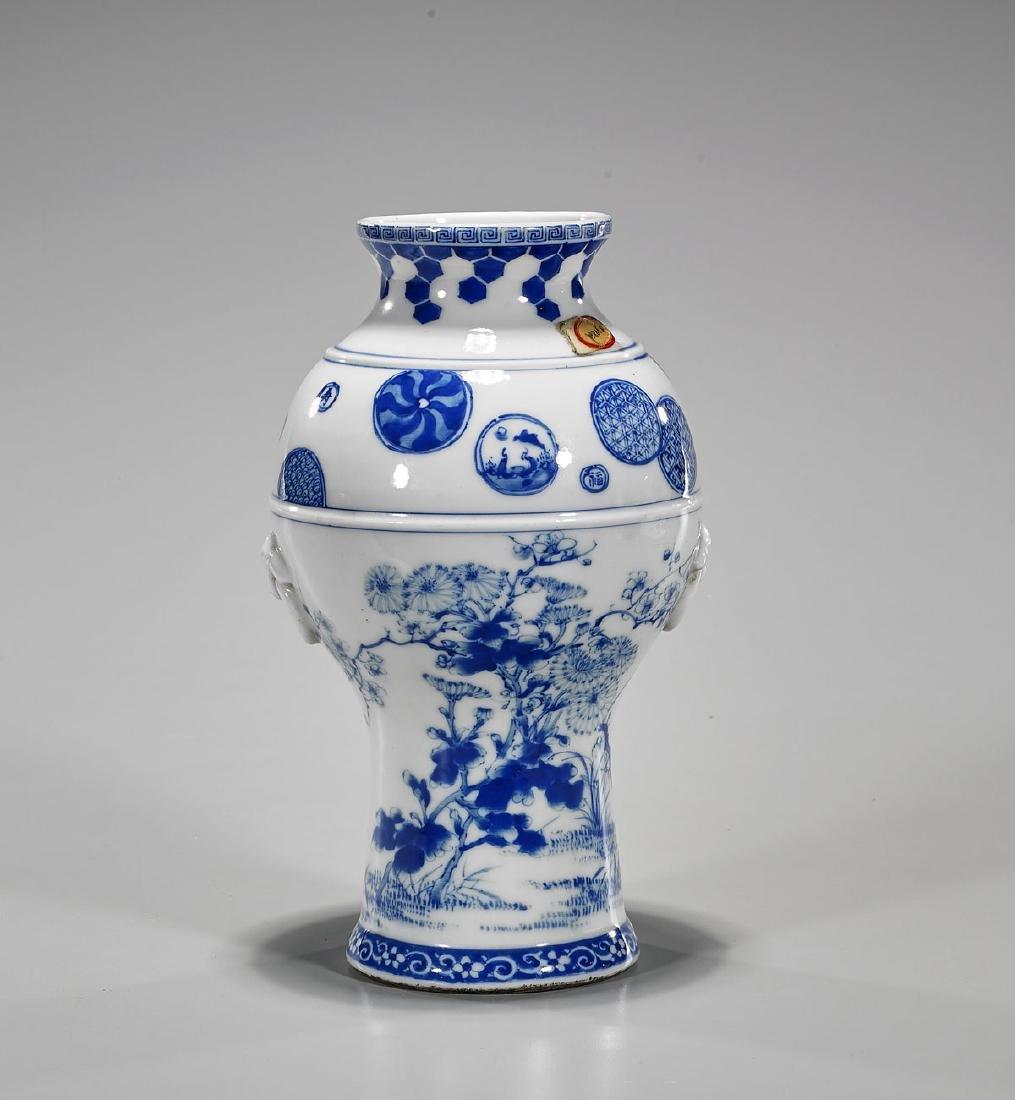 Antique Chinese Blue & White Porcelain Vase - 2