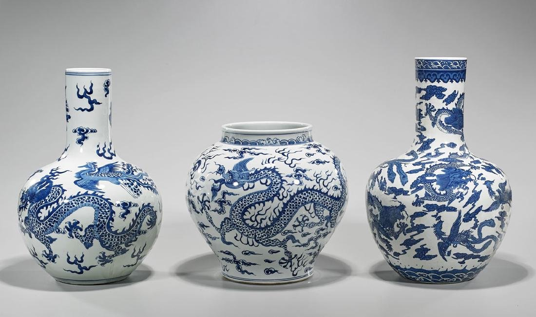 Group of Three Chinese Blue & White Porcelains