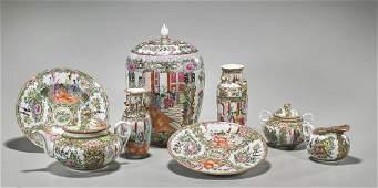 Group of Eight Old Rose Medallion Enameled Porcelains