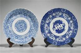 Two Large Antique Blue  White Porcelain Chargers