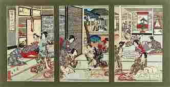 Antique Japanese Woodblock Print Triptych