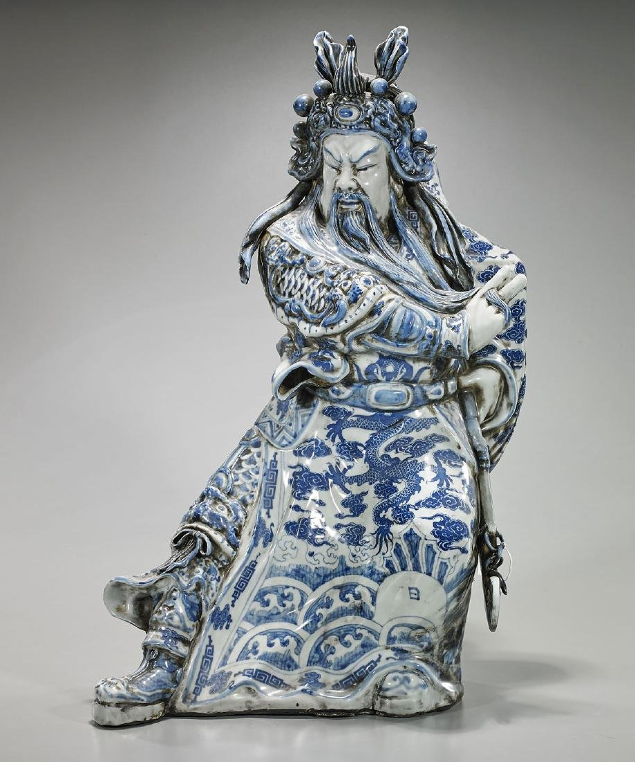 Chinese Qing-Style Blue & White Porcelain Figure of