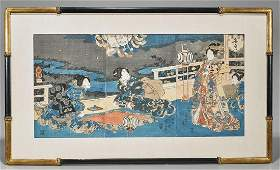 Antique Japanese Woodblock Print Triptych By Kuniyoshi