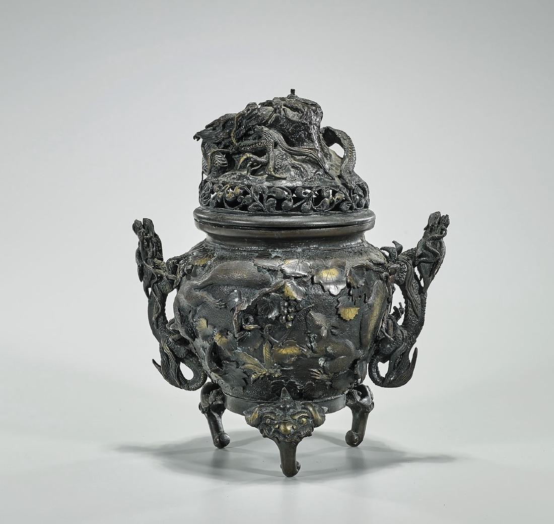 Old & Elaborate Japanese Bronze Covered Koro