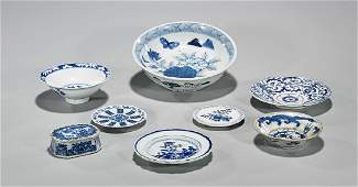 Group of Eight Antique Chinese Blue & White Porcelain