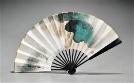 Chinese Fan Painting After Zhang Daqian & Zheng Xiaoxu