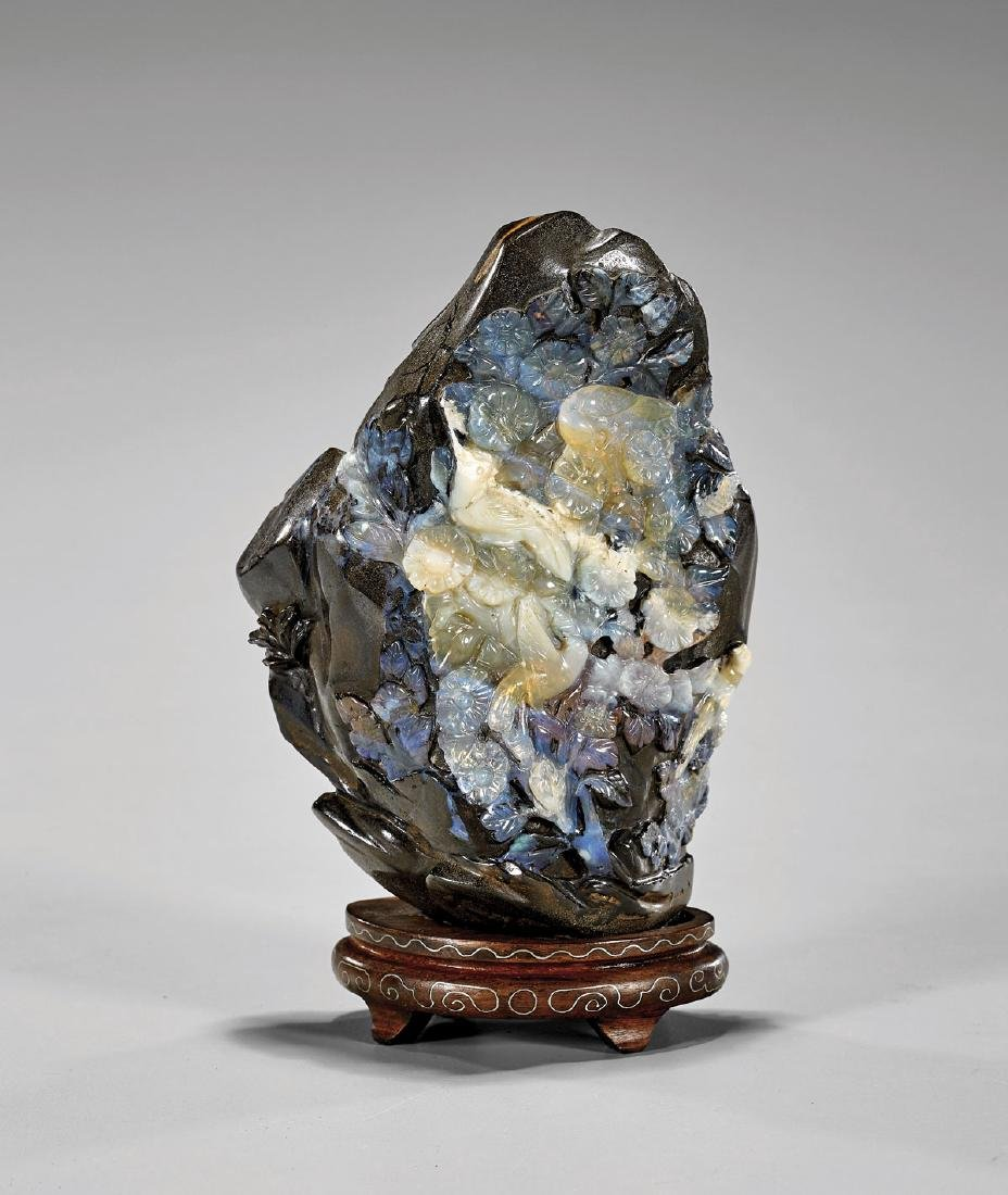 LARGE CHINESE CARVED BOULDER OPAL GROUP