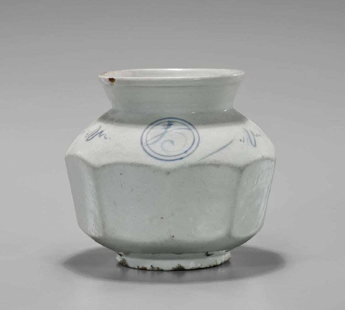 ANTIQUE KOREAN BLUE & WHITE FACETED JAR