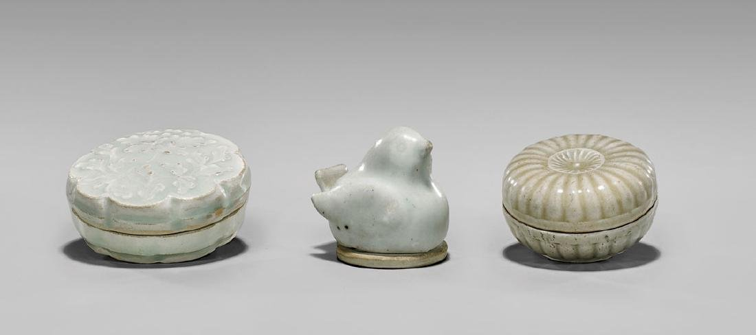 THREE SONG DYNASTY GLAZED PORCELAIN BOXES