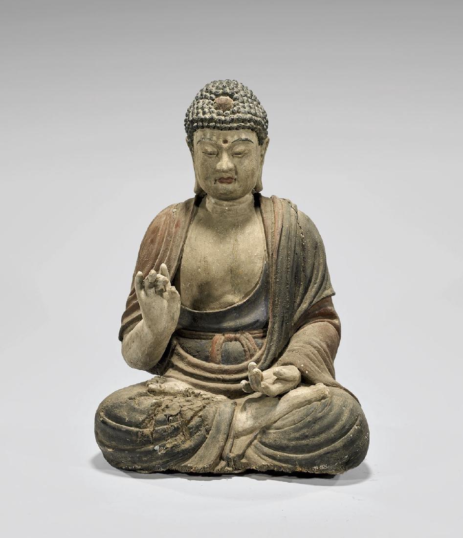 ANTIQUE CARVED & POLYCHROME WOOD BUDDHA