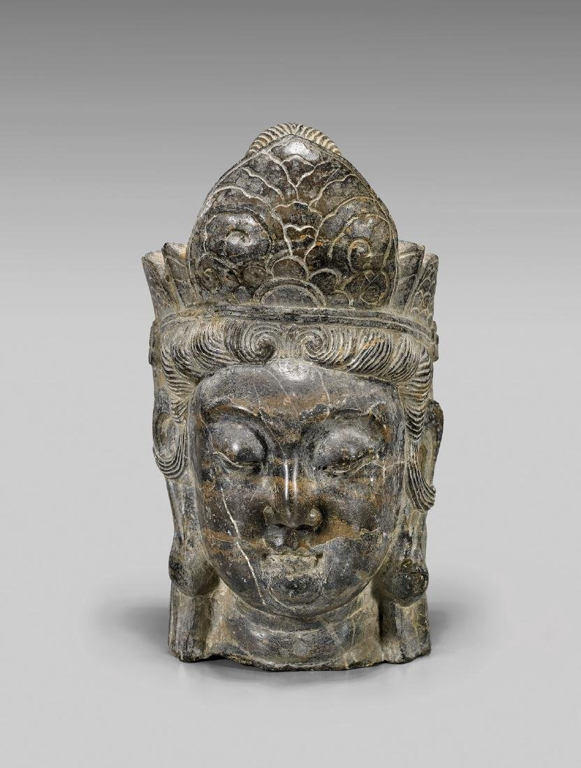 ANTIQUE CHINESE CARVED STONE HEAD OF GUANYIN