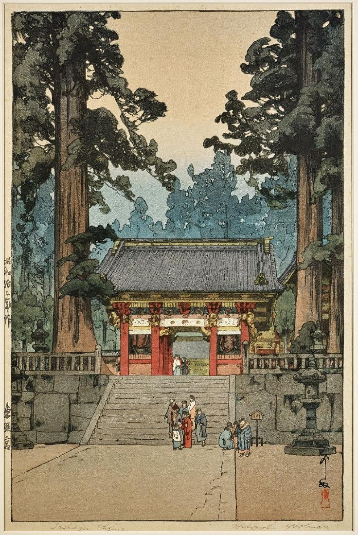 WOODBLOCK PRINT BY HIROSHI YOSHIDA: Toshogu Shrine