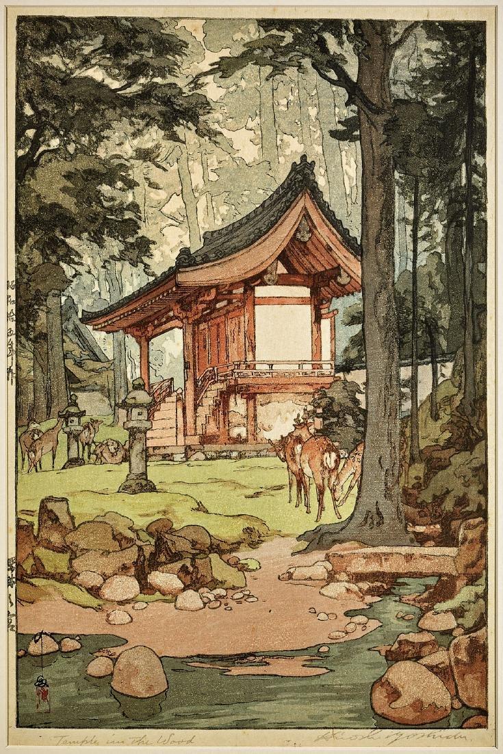 WOODBLOCK PRINT BY HIROSHI YOSHIDA: Temple in the Wood