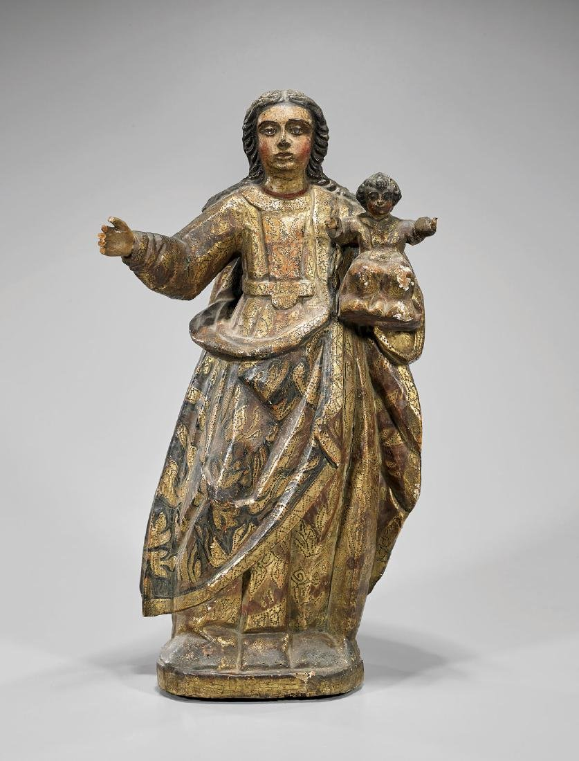 SPANISH COLONIAL POLYCHROME WOOD GROUP: Madonna & Child