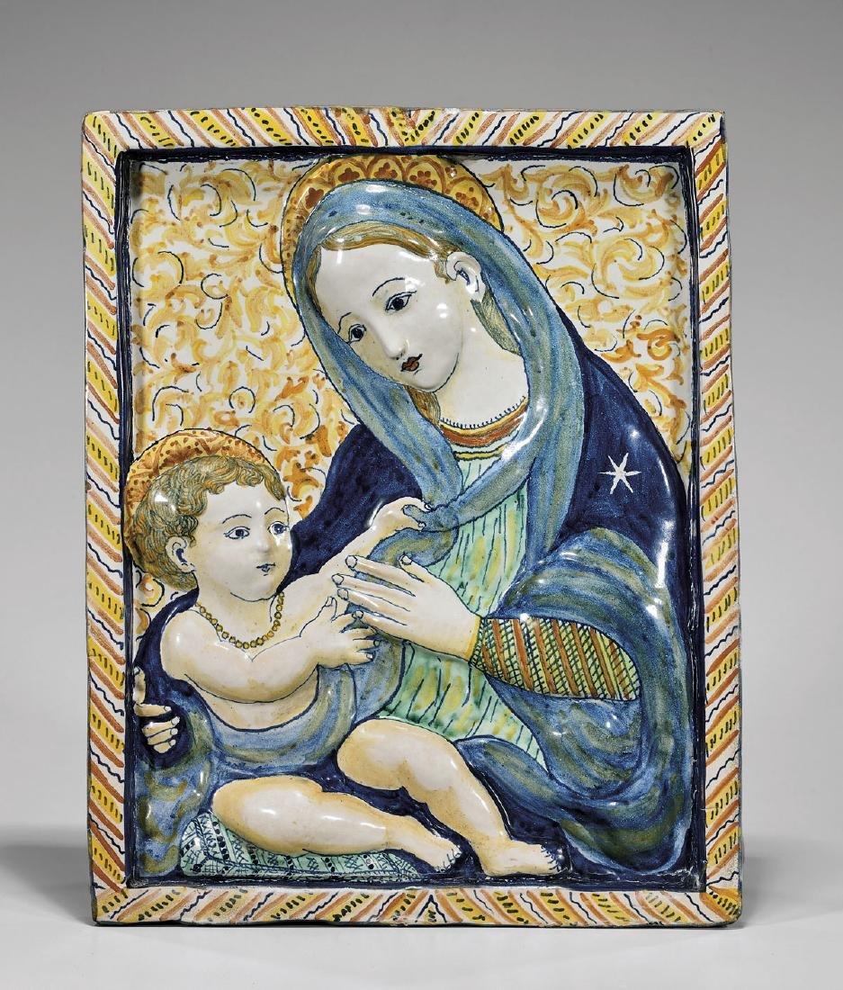 ANTIQUE ITALIAN DERUTA MAIOLICA PLAQUE: Madonna & Child