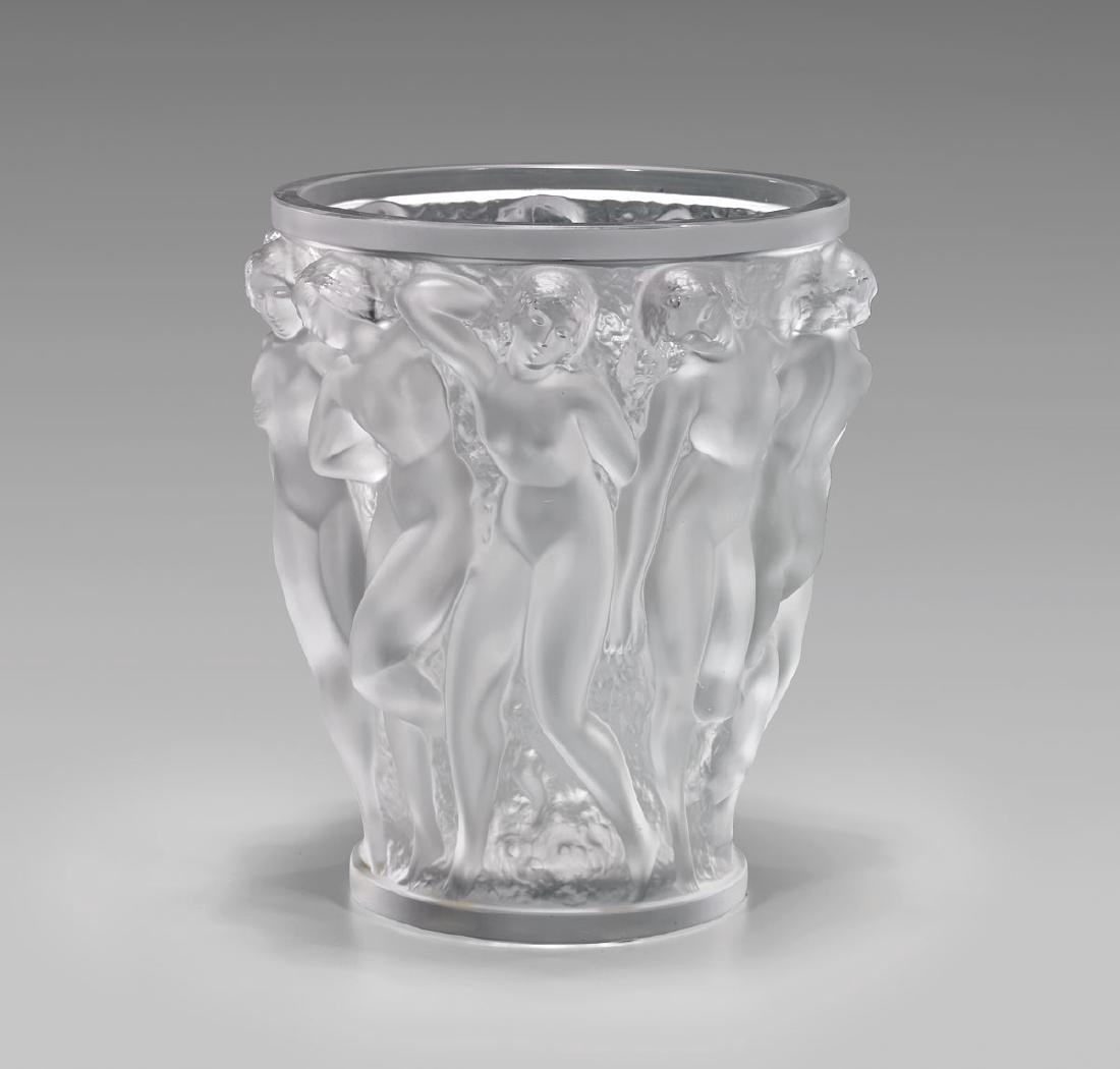 LALIQUE 'BACCHANTES' GLASS VASE