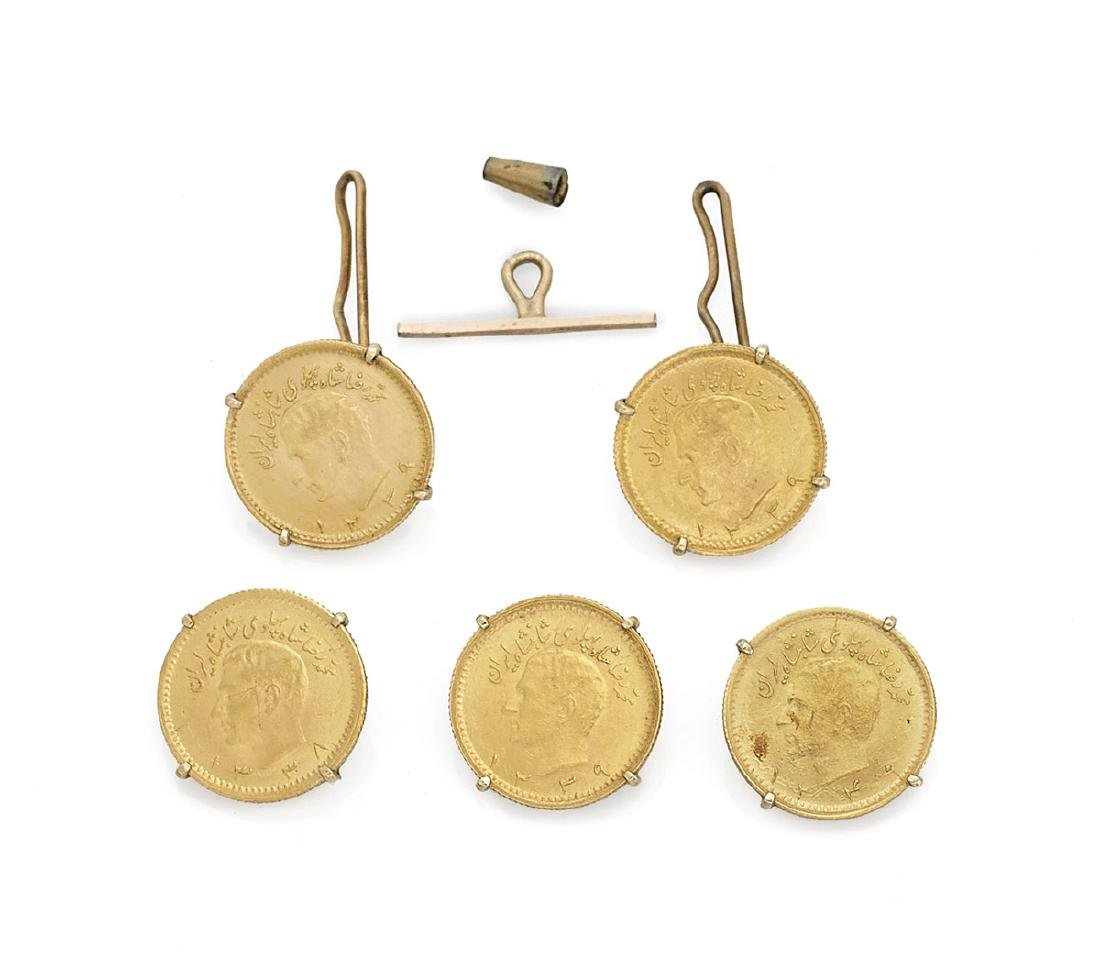 SET OF IRANIAN GOLD COINS MOUNTED AS ACCESSORIES