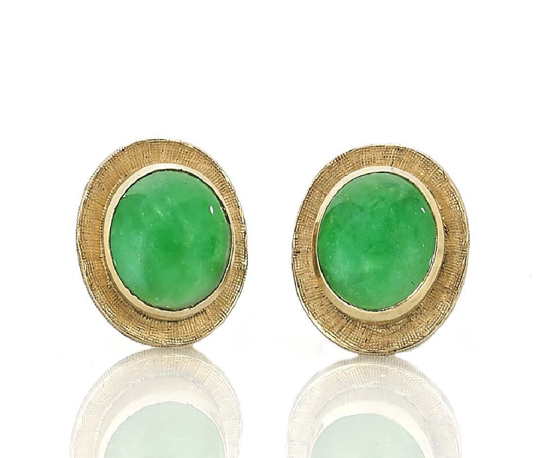 PAIR APPLE-GREEN JADEITE & 14K GOLD EARRINGS