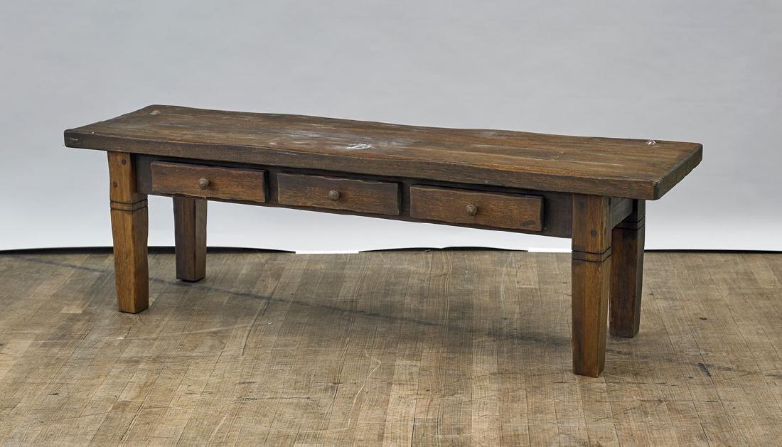 Old Carved Wood Storage Bench