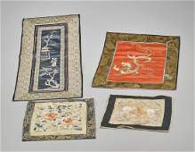 Group of Four Old  Antique Chinese Silk Embroideries
