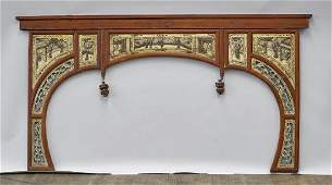 Old Chinese ParcelGilt  Lacquered Wood Headboard
