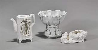Three Chinese Blanc De Chine Porcelain Vessels