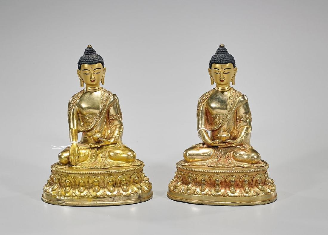 Pair Sino-Tibetan Gilt Copper Buddhas