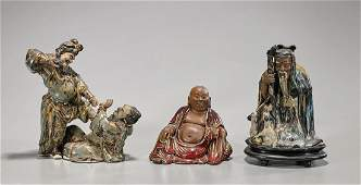 Three Chinese Glazed Ceramic Figures