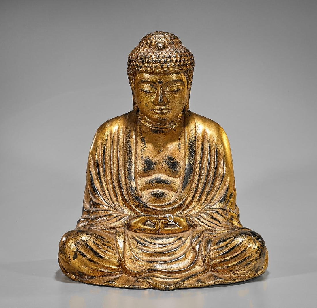 Large Chinese Gilt Bronze Seated Buddha