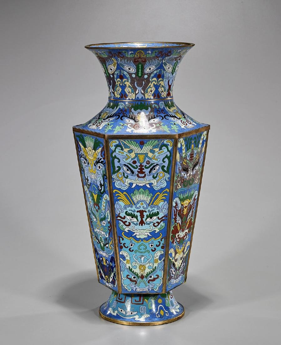 Tall Chinese Cloisonne Enamel Vase