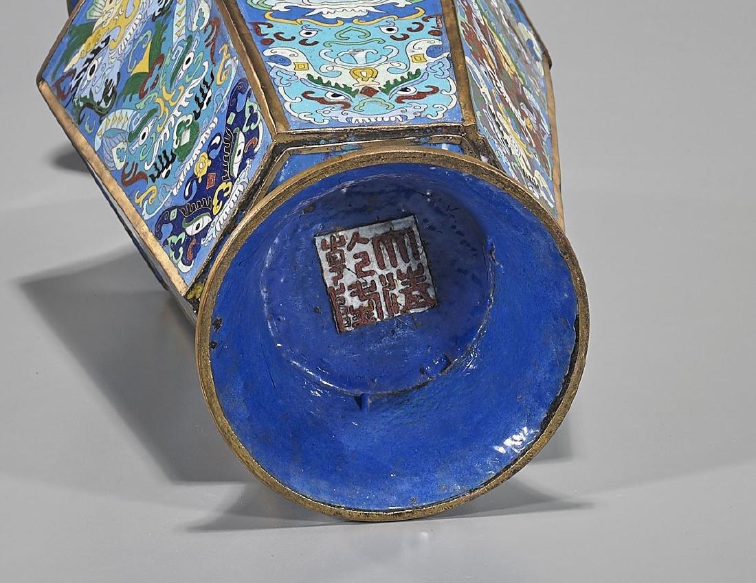 Tall Chinese Cloisonne Enamel Vase - 2