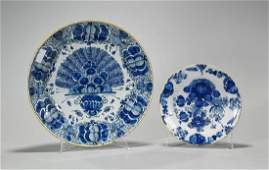 Two Antique Continental Blue & White Porcelain Dishes