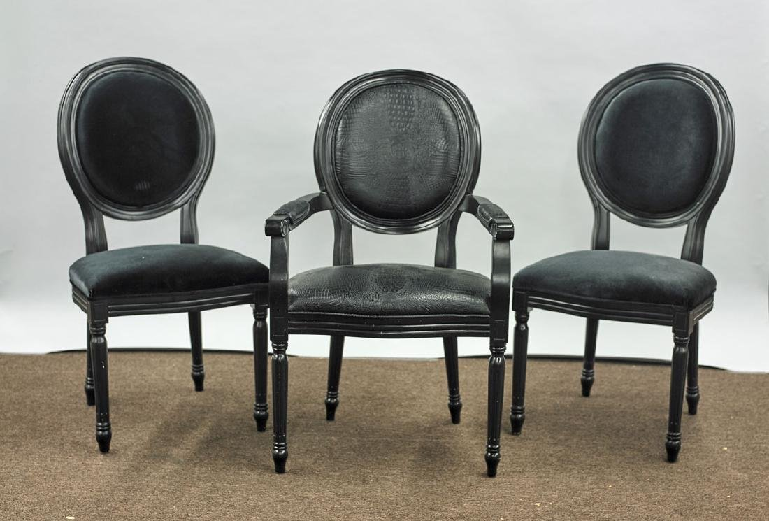 Group of Three Upholstered Wood Chairs