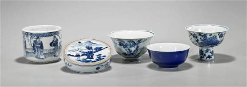 Five Various Chinese Blue & White Porcelains