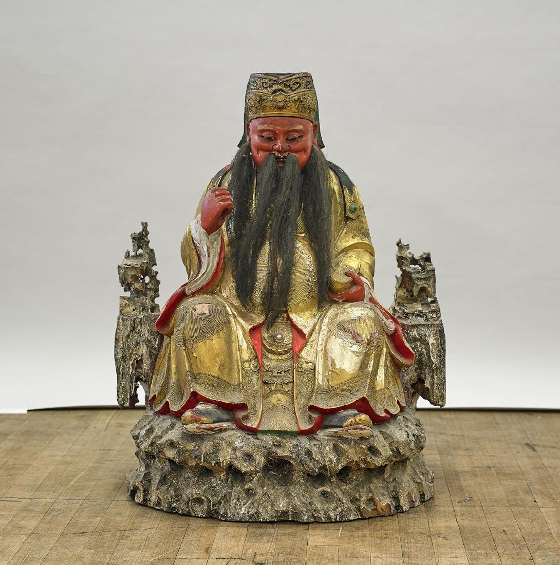 Large Antique Chinese Lacquered Wood Immortal