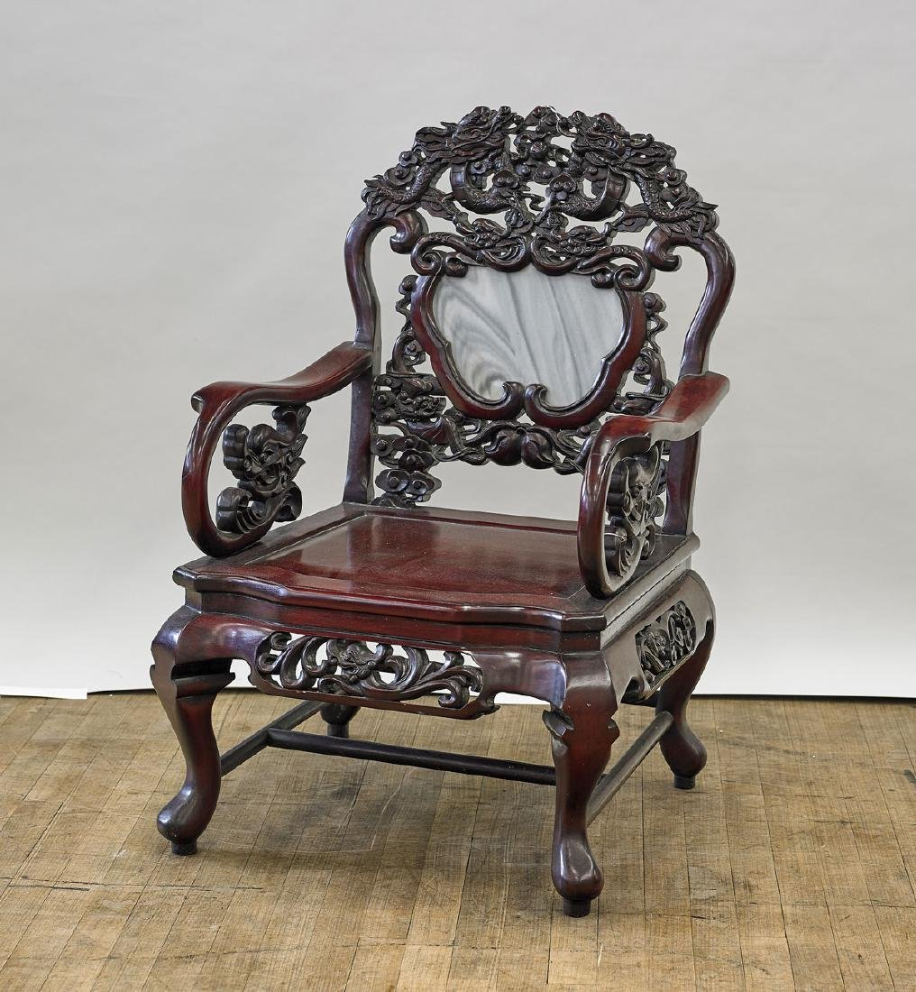 Old Chinese Marble-Inset Carved Wood Chair