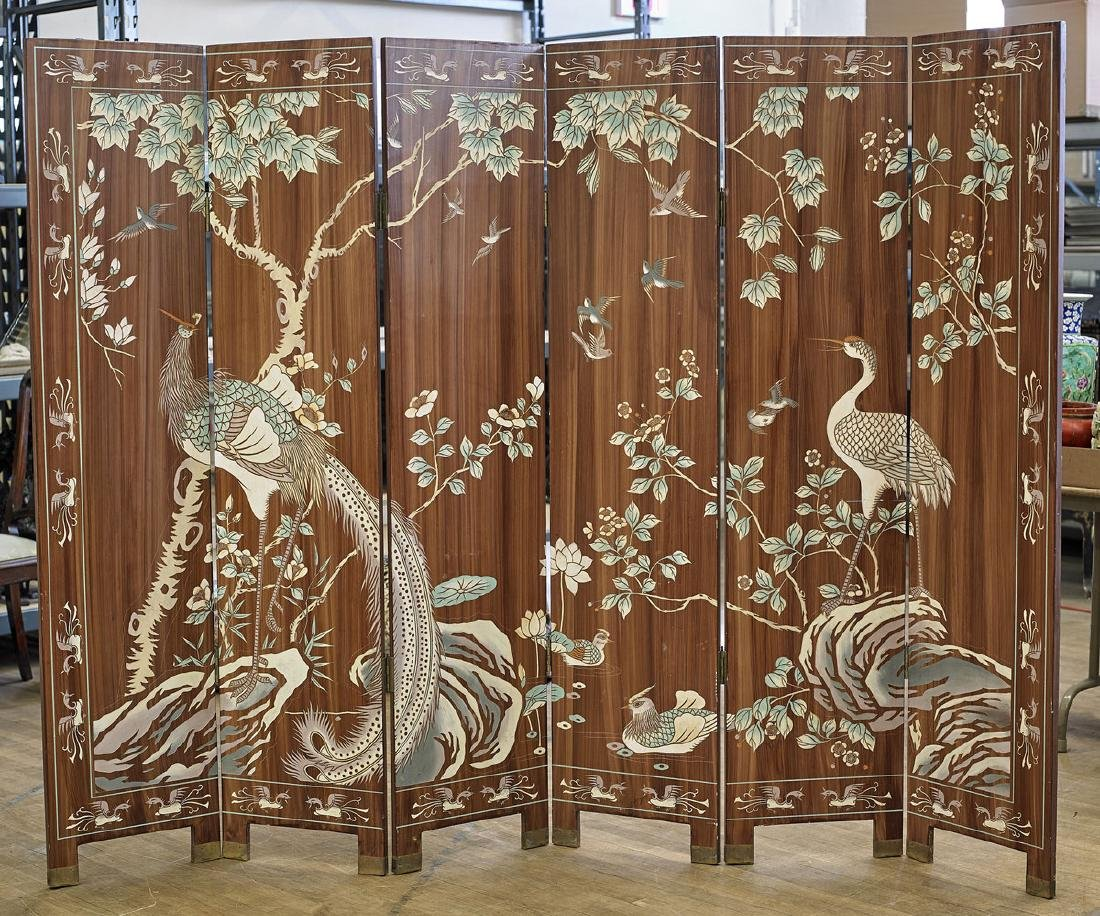 Chinese Six-Panel Polychrome Wood Screen