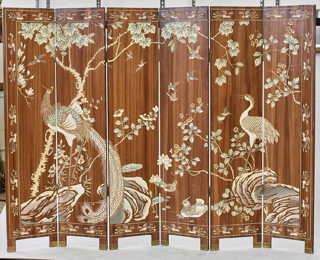 Chinese Six-Panel Polychrome Wood Screen - 3