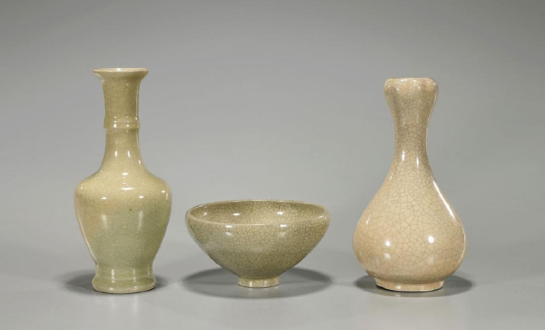 Three Song-Style Glazed Porcelain Pieces