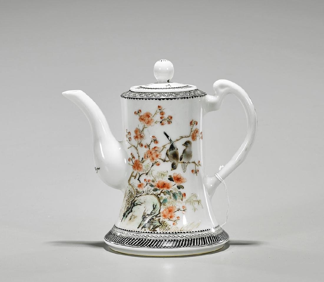 Chinese Enameled Porcelain Covered Teapot