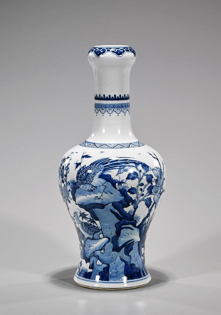 Kangxi-Style Blue & White Porcelain Vase