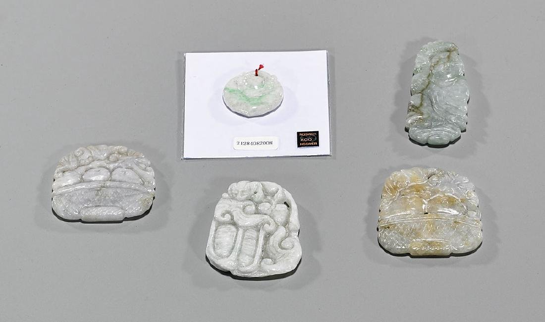 Group of Five Chinese Carved Jadeite Pendants