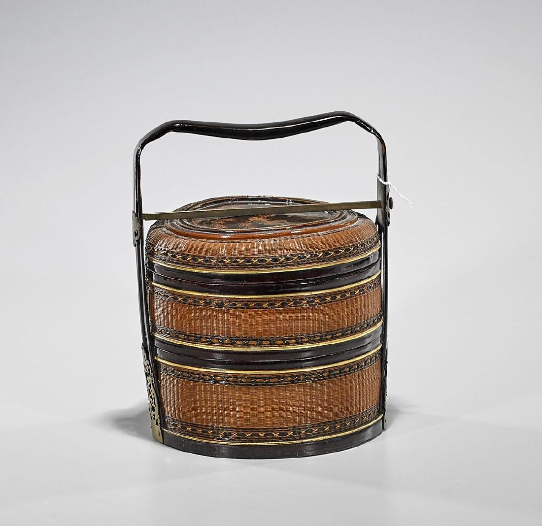 Antique Chinese Bamboo Lunch Basket