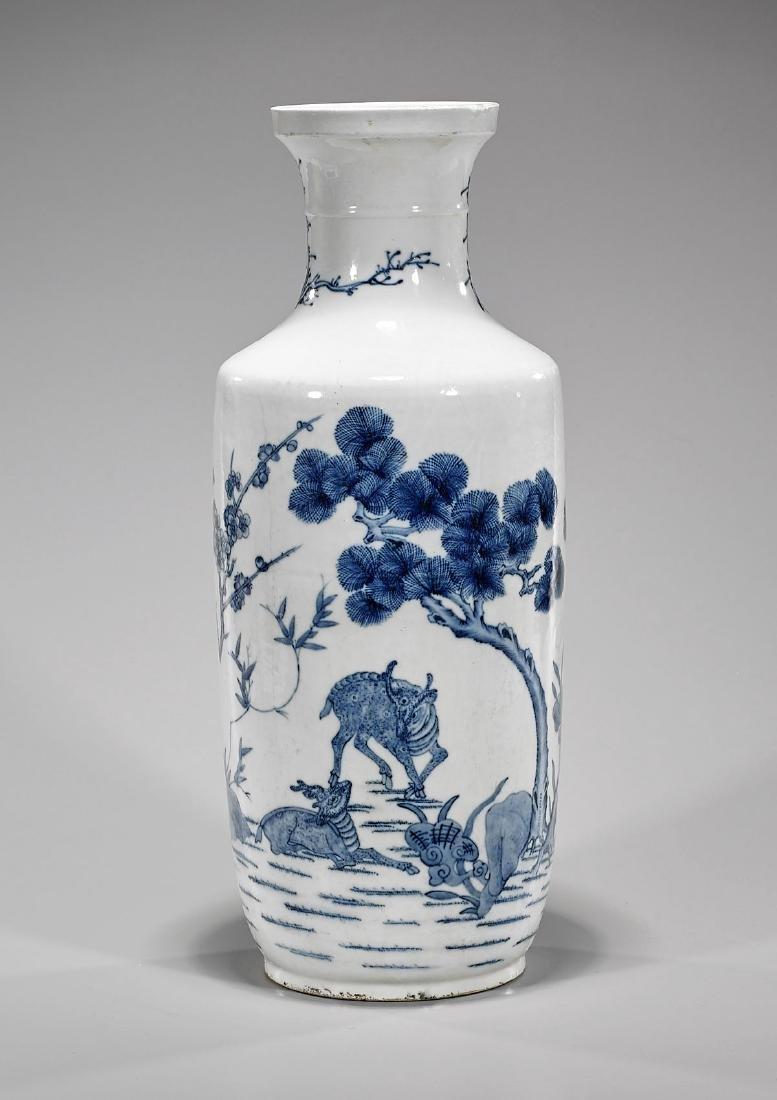 Tall Kangxi-Style Blue & White Porcelain Vase