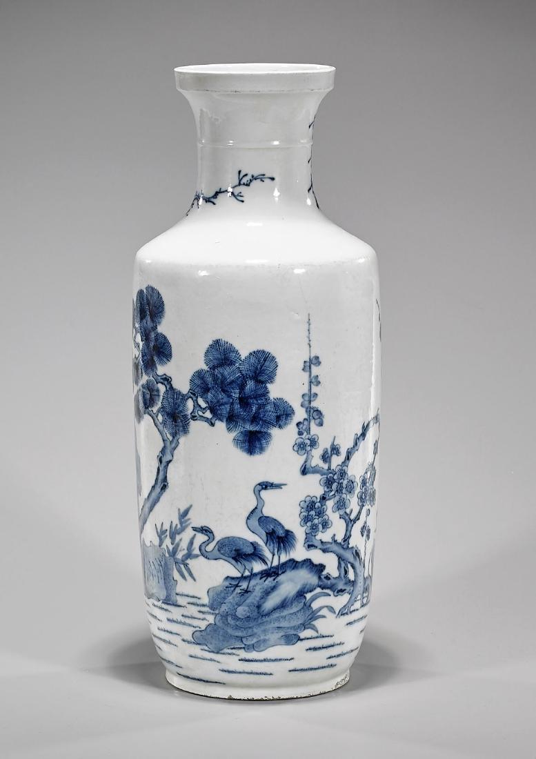 Tall Kangxi-Style Blue & White Porcelain Vase - 2