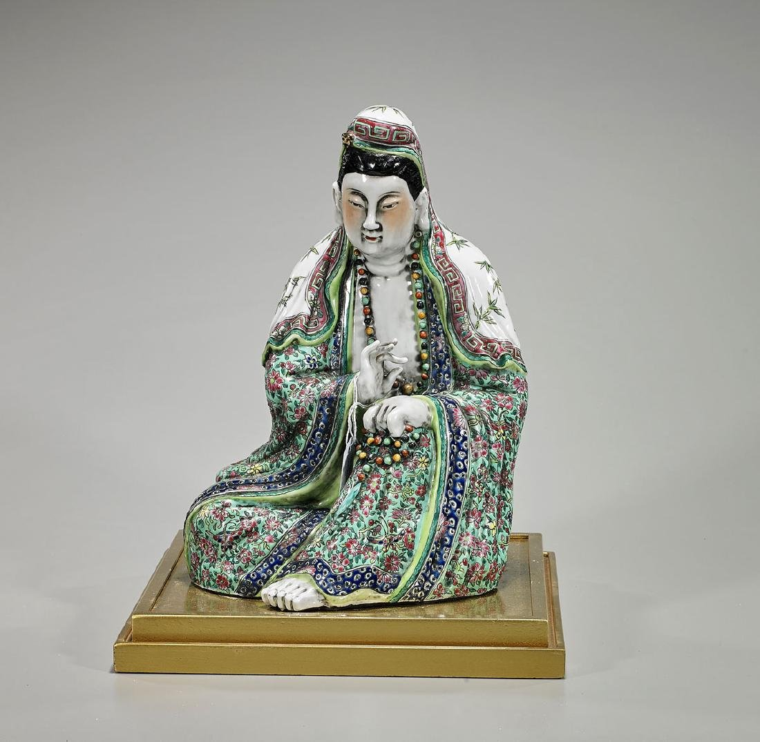 Chinese Enameled Porcelain Figure of Guanyin