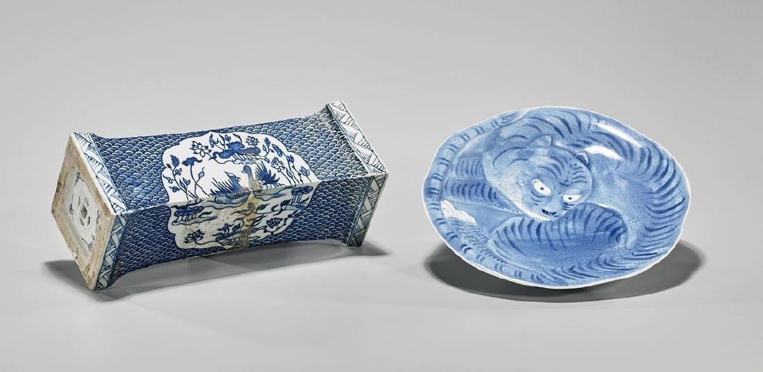 Two Chinese Blue & White Porcelains: Dish & Pillow