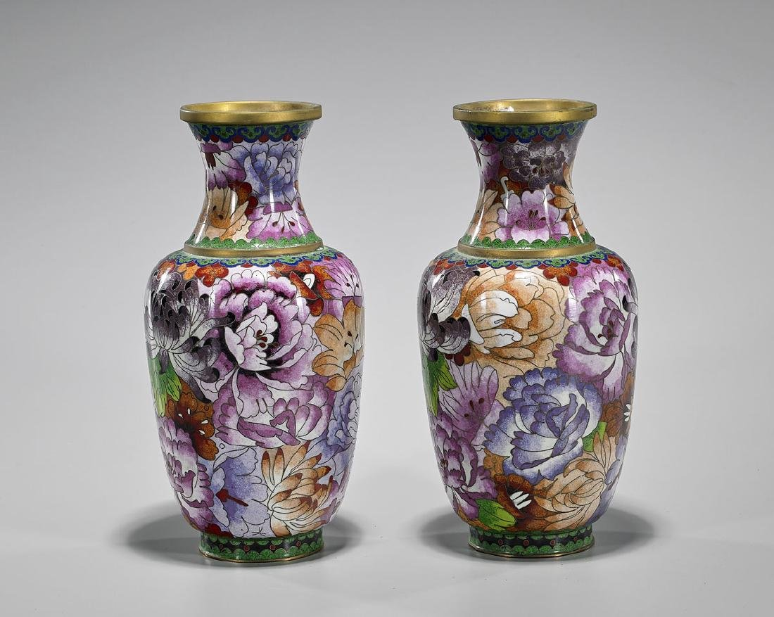 Pair Old Chinese Cloisonne Enamel Vases