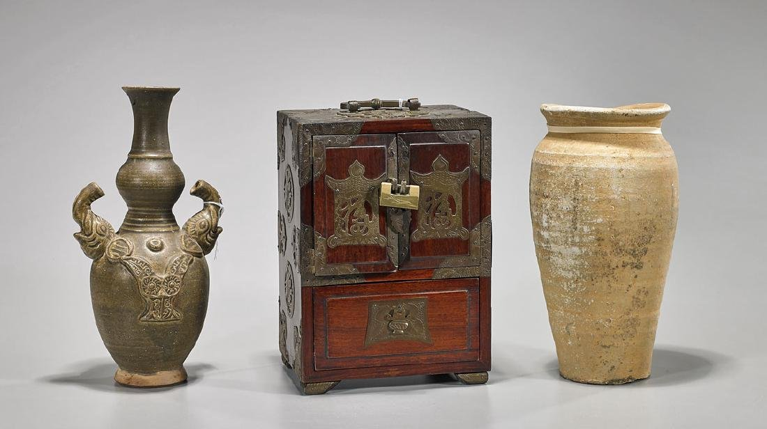 Three Korean Items: Pottery Vases & Wood Chest